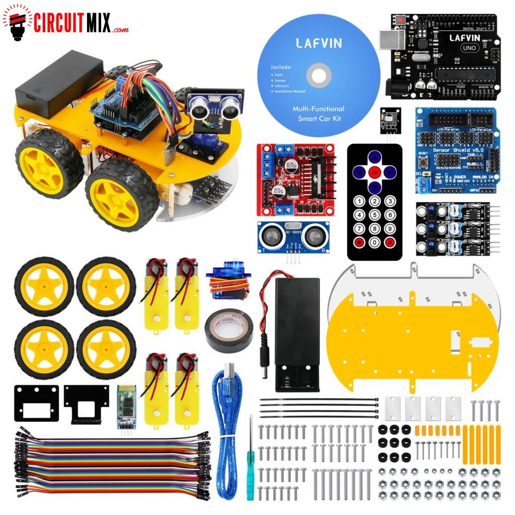Smart Robot Diy Car Kit Uno R3 Ultrasonic Sensor Bluetooth Module With Tutorial