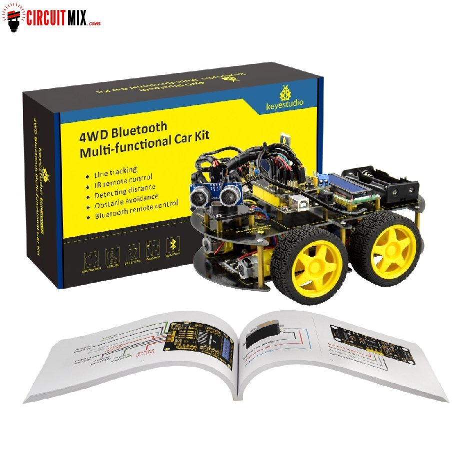 DIY 4WD Bluetooth Multi-functional Smart Car For Arduino